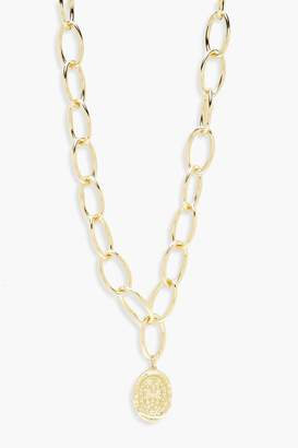 boohoo Oval Coin Linked Chunky Chain Necklace