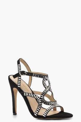 boohoo Diamante Embellished Cage Sandals