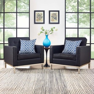Modway Loft 2 Piece Leather Armchair Set, Multiple Colors