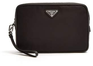 Prada Leather Trimmed Nylon Washbag - Mens - Black