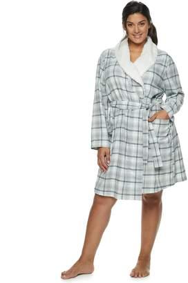 Sonoma Goods For Life Plus Size SONOMA Goods for Life Flannel Plush Wrap Robe