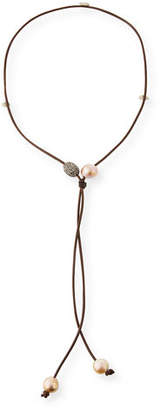 Margo Morrison Crystal Ball & Baroque Pearl Lariat Necklace