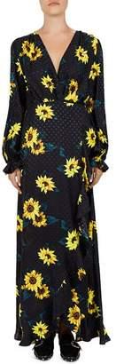 The Kooples Sunflower & Polka Dot Maxi Wrap Dress