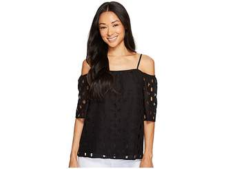 Vince Camuto Specialty Size Petite Elbow Sleeve Cold-Shoulder Cable Lace Blouse Women's Blouse