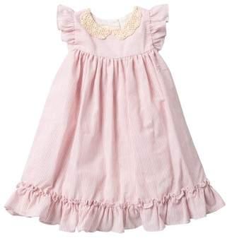 Laura Ashley Ruffle Sleeve Peter Pan Collar Dress (Toddler & Little Girls)