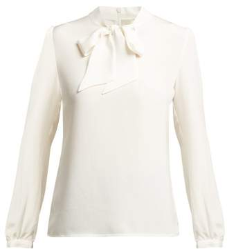 Goat Heart Pussy Bow Silk Blouse - Womens - Cream