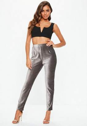 Missguided Gray Velvet Glitter Stripe Cigarette Pants
