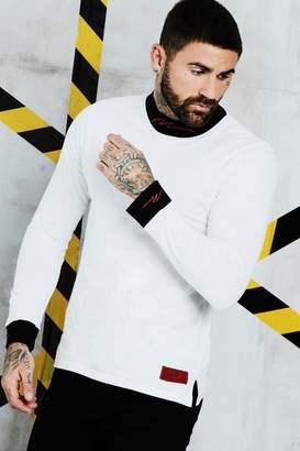 BoohooMAN Man Certified High Neck Long Sleeve Top With Woven Tab