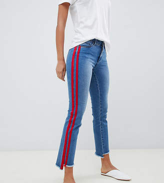 Only Tall straight leg crop jean with sports stripe