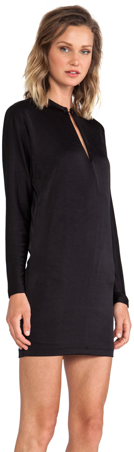 Alexander Wang Pique Double Knit Long Sleeve Dress