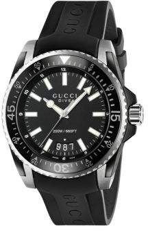 Gucci Dive Stainless Steel Rubber Band Watch
