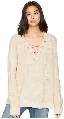 BB Dakota Hey Ms. Carter Rib Stitch Lace-Front Sweater Women's Sweater