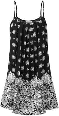 BAISHENGGT Above Knee Dress, Women's Front Pleated Floral Spaghetti Strap Summer Sun Mini Dress Women's M