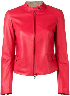 Emporio Armani fitted leather jacket