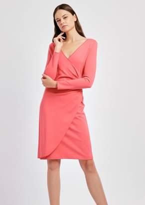 Emporio Armani Tulip Dress In Milano Stitch Fabric With Draped Side
