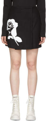 MSGM Black Stamped Rose Skirt