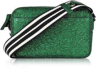 RED Valentino Dark Green Crackled Metallic Leather Crossbody Bag W/striped Canvas Strap