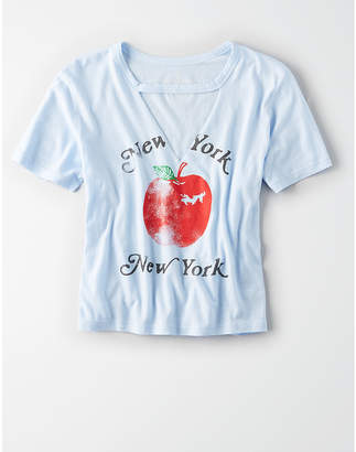 American Eagle AE NYC Cut Out Graphic Tee