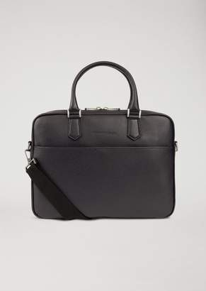 Emporio Armani Briefcase In Hammered Leather