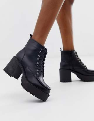Truffle Collection chunky heeled lace up boots in black