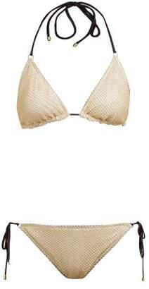 Missoni Mare - Metallic Knit Mesh Triangle Bikini - Womens - Gold