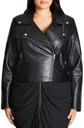 City Chic Faux Leather Moto Jacket