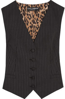 Dolce & Gabbana Pinstriped Wool-blend And Leopard-print Satin Vest - Gray