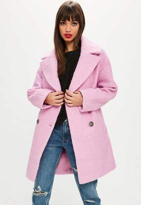 Missguided Pink Oversized Boucle Coat