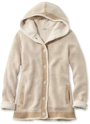 L.L. Bean L.L.Bean Lined Sherpa-Trimmed Hoodie, Bird's-Eye