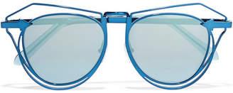 Karen Walker Marguerite Aviator-style Metal Mirrored Sunglasses - Blue