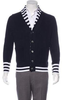 Black Fleece Knit Button-Up Cardigan