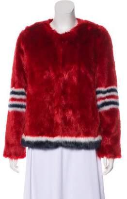Mother Collarless Faux Fur Jacket