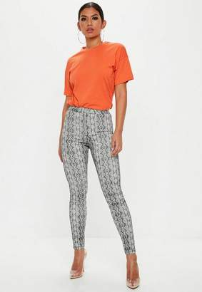 Missguided Gray Snakeskin High Waisted Skinny Jeans