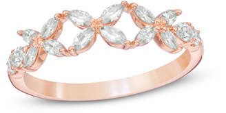 Zales 3/4 CT. T.W. Diamond Flower Wedding Band in 14K Rose Gold (H/SI2)