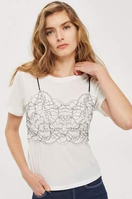 Topshop Petite Lace Bralet T-Shirt