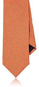 Barneys New York MEN'S DIAMOND-GRID SILK SATIN NECKTIE-ORANGE