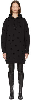 McQ Black Cut-Up Swallow Hoodie Dress