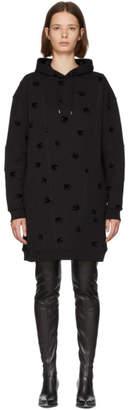 McQ Black Cut-Up Swallow Hoodie Dress