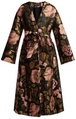 Etro Suzanne Floral Jacquard Coat - Womens - Black Multi