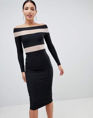 Bardot Asos Design ASOS DESIGN mesh insert bodycon midi dress