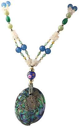 One Kings Lane Vintage Abalone - Gemstone & Art Glass Necklace - Owl's Roost Antiques