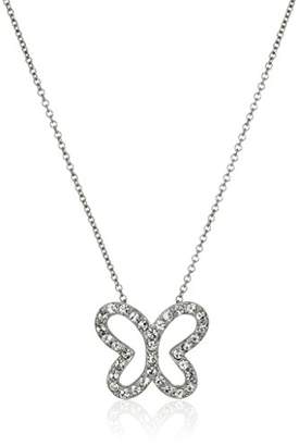 clear Sterling Silver Crystal Butterfly Pendant Necklace