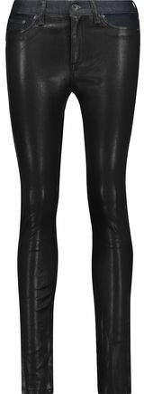 Hyde Low-Rise Leather-Paneled Skinny Jeans