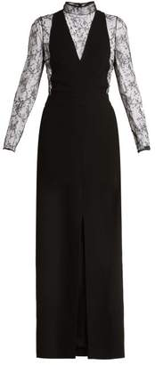 Givenchy Wool And Floral Lace Evening Gown - Womens - Black