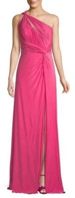 Draped One Shoulder Jersey Gown