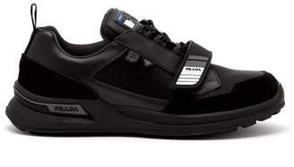 Prada - Velcro Strap Leather And Technical Trainers - Mens - Black
