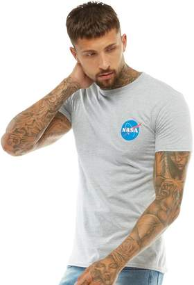 NASA Mens Chest Logo T-Shirt Grey Marl