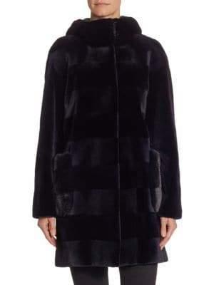 The Fur Salon Horizontal Stripe Hooded Mink Velvet Coat