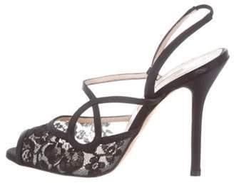 Oscar de la Renta Lace Slingback Sandals Black Lace Slingback Sandals