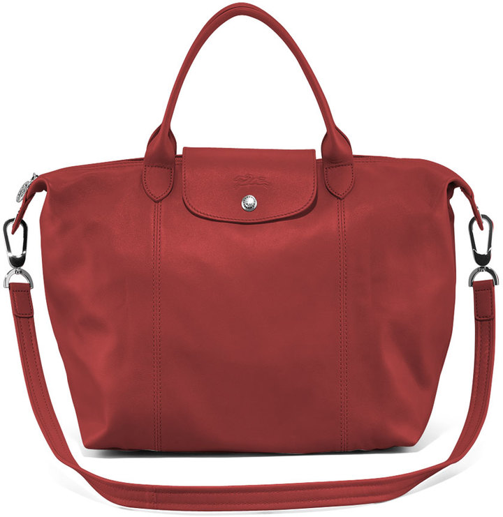 Longchamp Le Pliage Cuir Handbag with Strap, Red